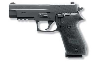 The SIG Sauer P220 comes with night sights for low light conditions