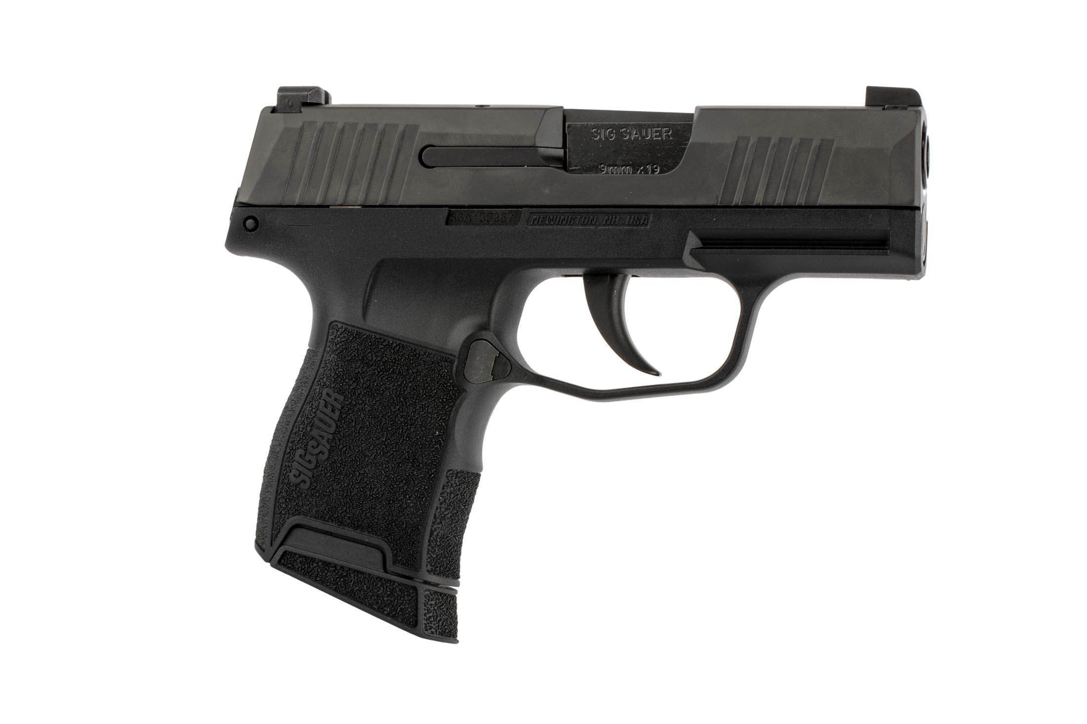 SIG Sauer P365 9mm compact 9mm handgun is equipped with tritium enhanced three-dot night sights.