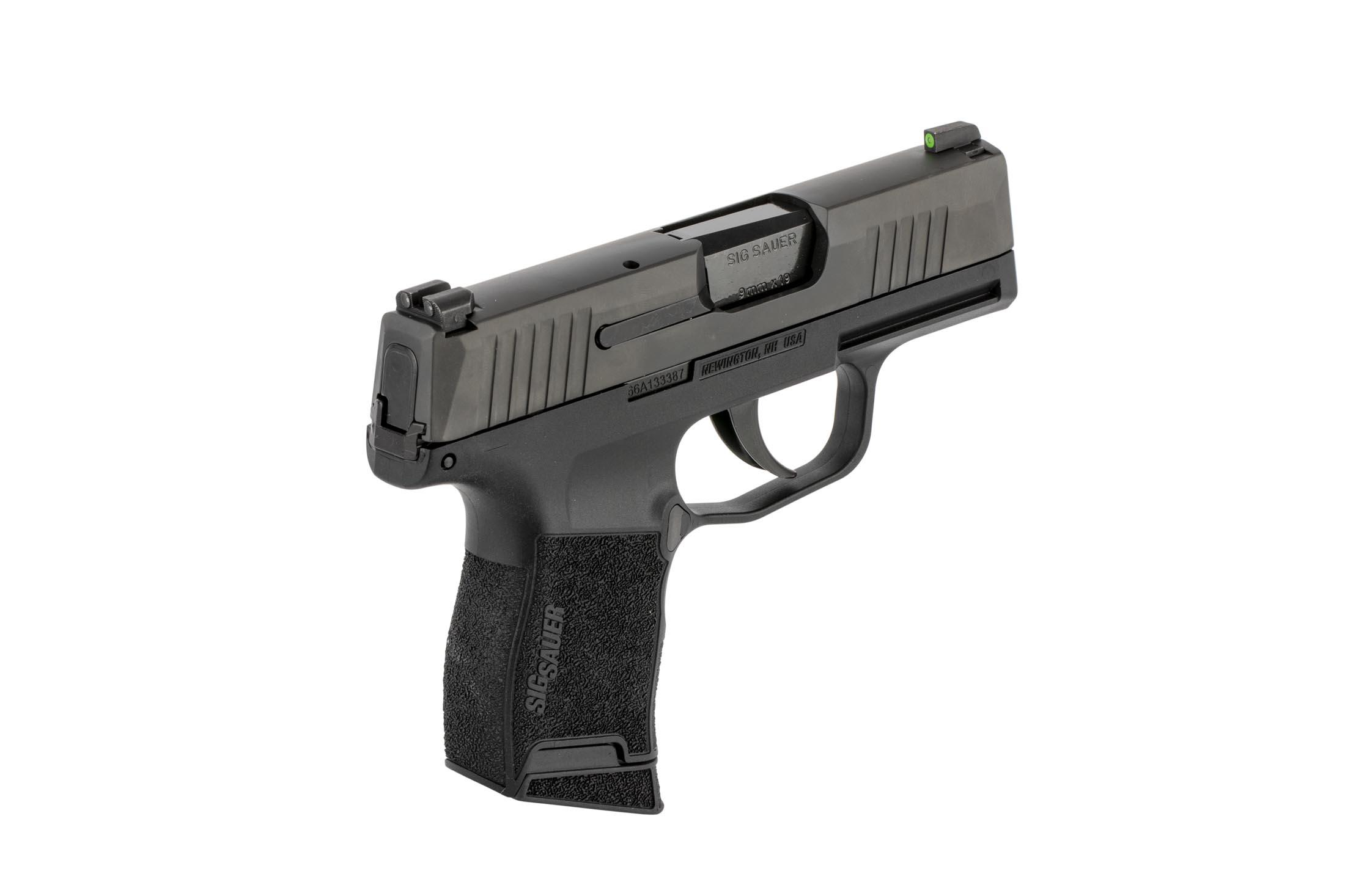 SIG Sauer P365 handgun is a slim concealed carry handgun with high-texture frame and high visibility sights.
