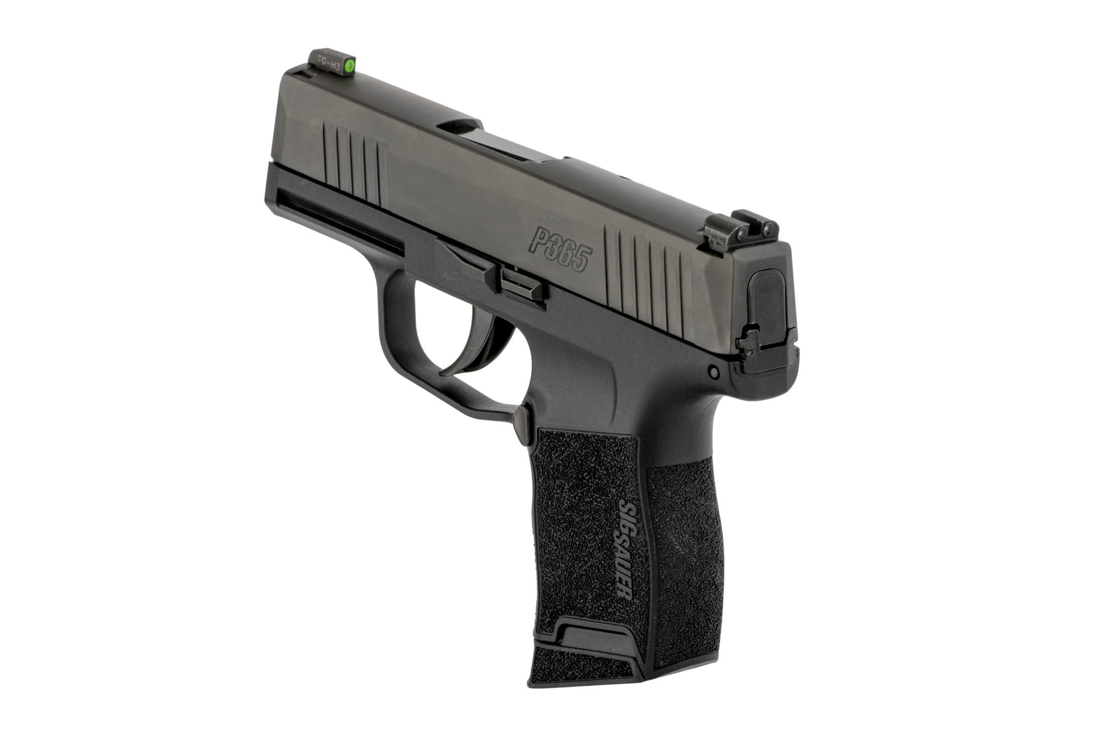 SIG Sauer's P365 slim compact handgun holds 10 rounds of 9x19mm and features hi-vis green front sight