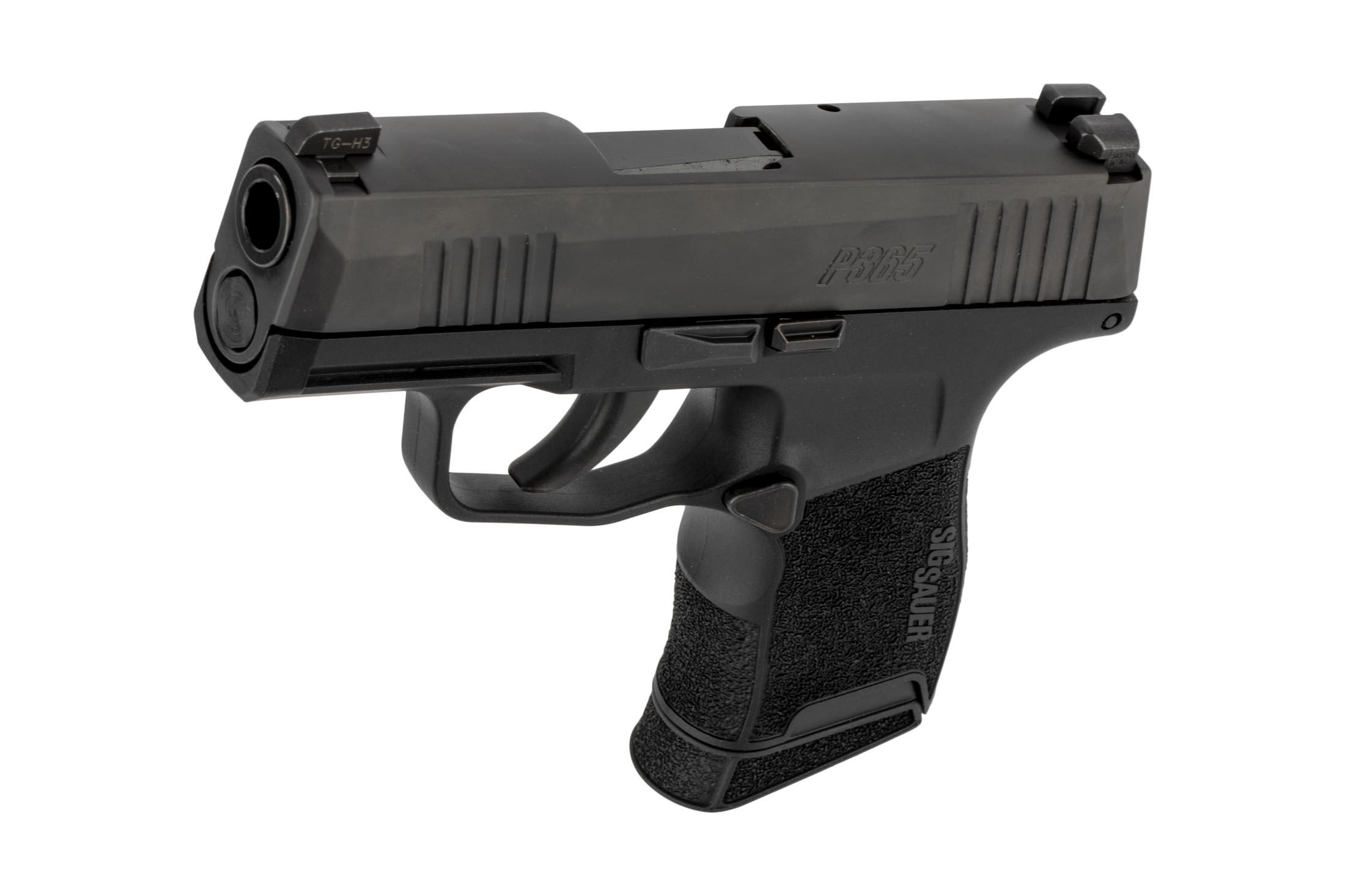 SIG Sauer 9x19mm P365 compact handgun features contoured controls for minimal snag chance but easy manipulations.