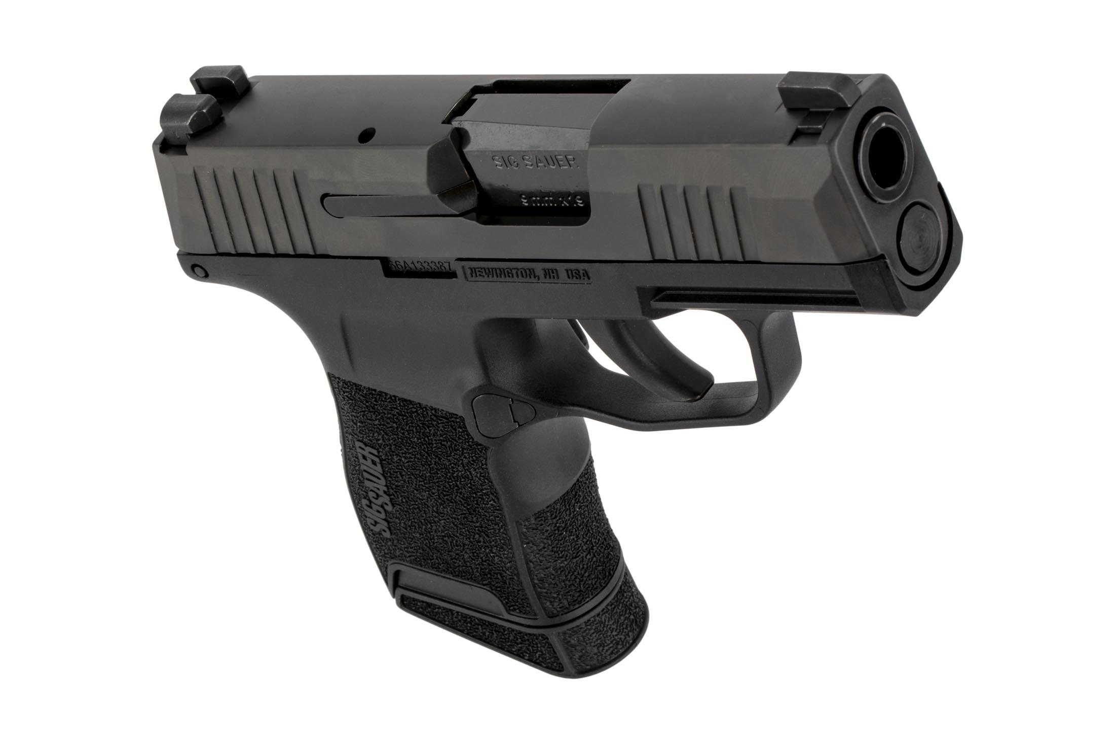 P365 compact handgun from SIG Sauer with reversible magazine release and accessory rail