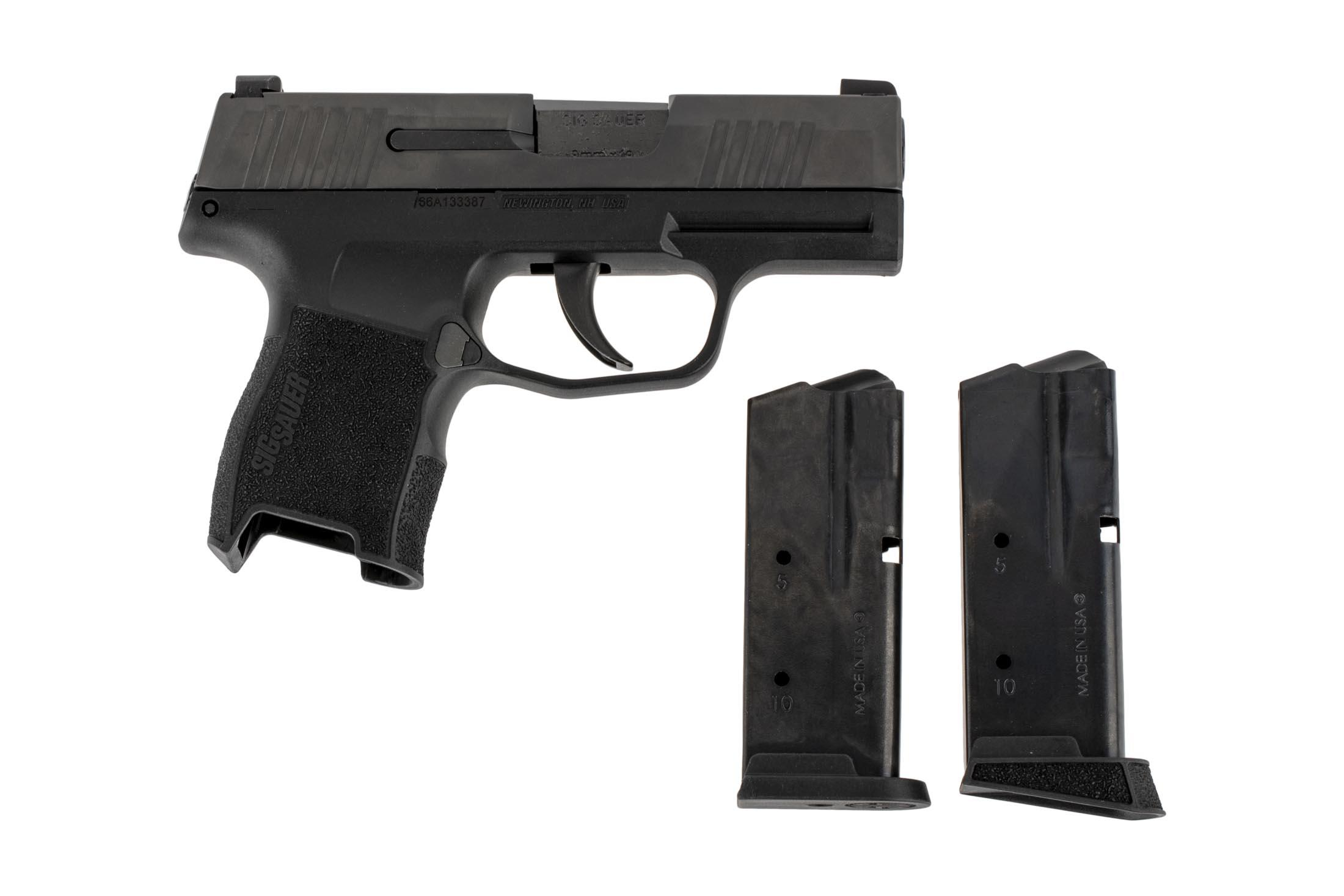 SIG Sauer P365 subcompact 9mm handgun includes two magazines.
