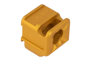 The Arc Division Gold anodized Glock 43 SPARC compensator features 1/2x28 threads