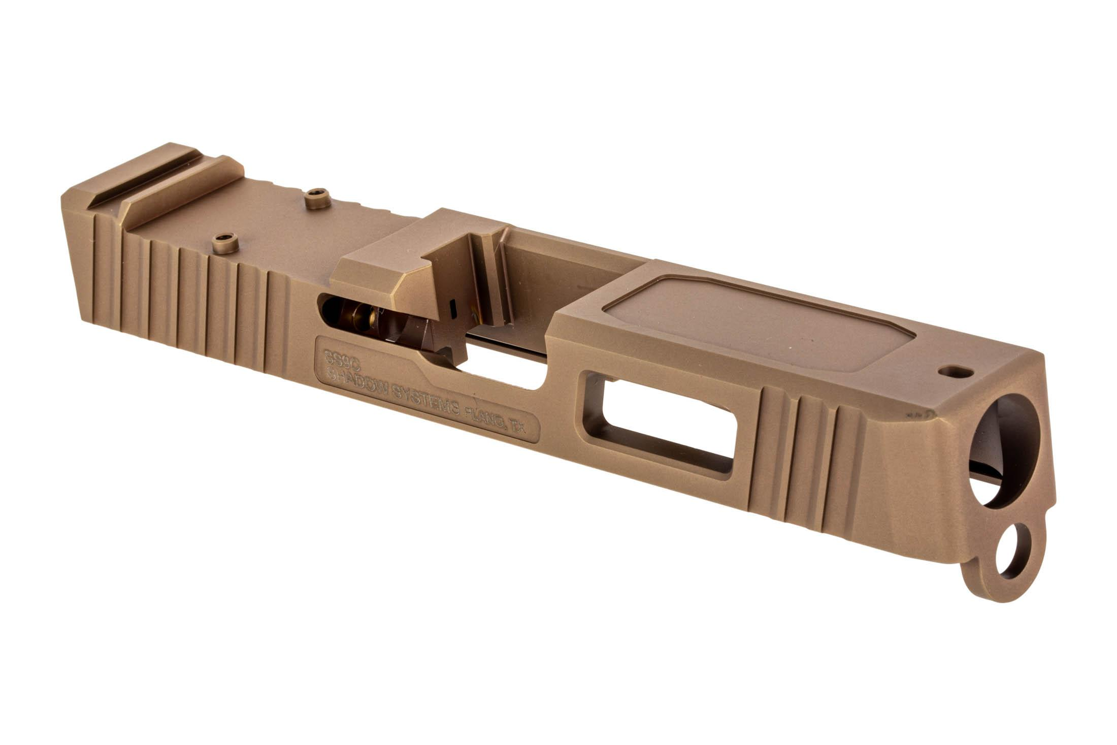 The Shadow Systems Glock 19 Gen 3 stripped slide features an FDE finish