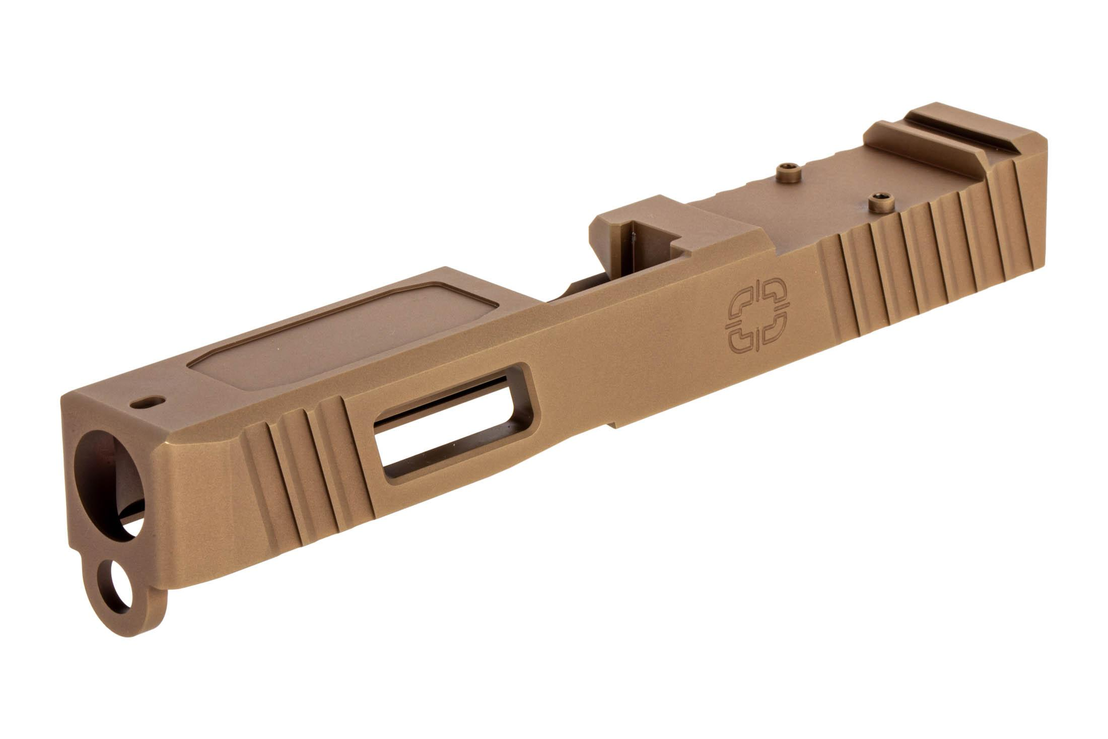 The Shadow Systems FDE G19 slide features front and rear serrations