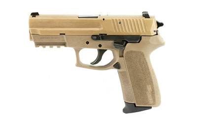 The SIG Sauer 2022 9mm compact is a 15 round handgun with a 3.9 inch barrel and comes in flat dark earth