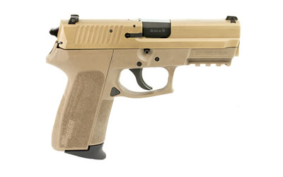 The SIG Sauer 2022 9mm compact is a 15 round handgun with a 3.9 inch barrel and has a polymer frame