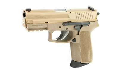 The SIG Sauer 2022 9mm compact is a 15 round handgun with a 3.9 inch barrel and high quality iron sights