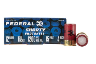 Federal 12 gauge Shorty Shells are loaded with #4 buckshot