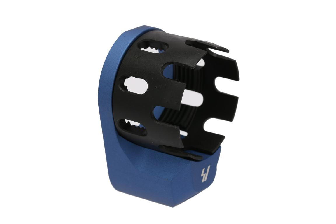 Strike Industries AR Enhanced Castle Nut and Extended End Plate - Blue