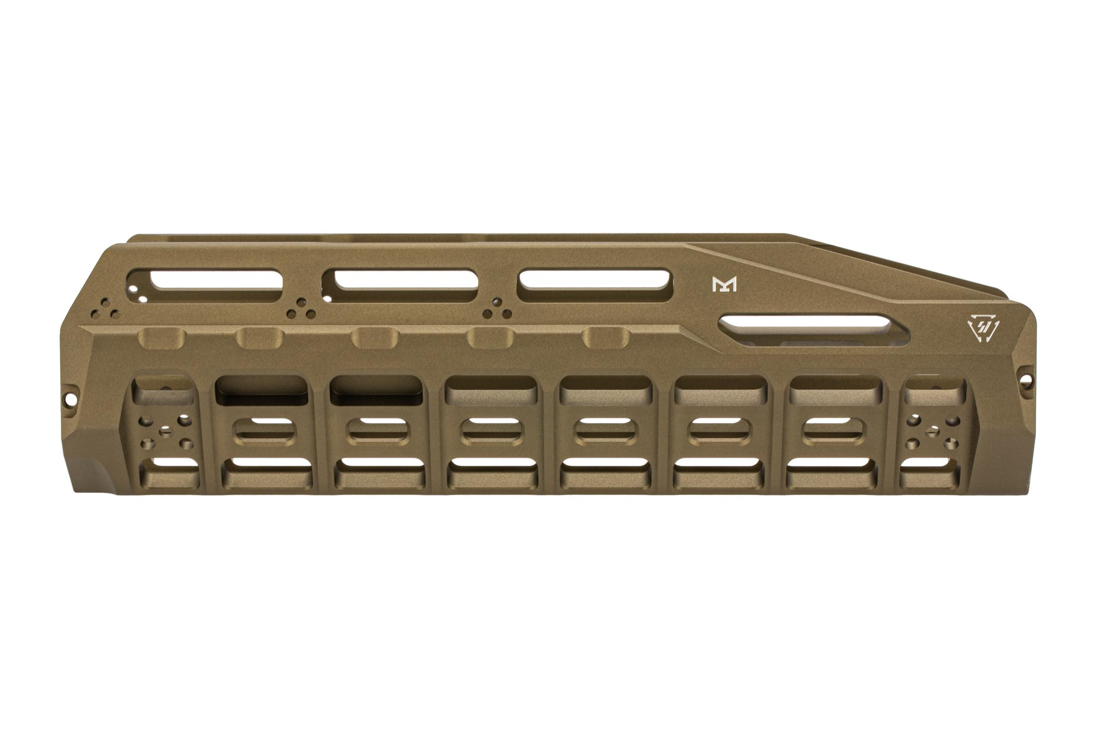 The Strike Industries Benelli M4 HAYL Rail FDE features M-LOK attachment slots on both sides