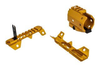The Strike Industries Gridlock segments are made from aluminum and gold anodized