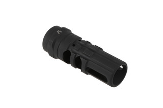 The Strike Industries JCOMP Gen2 has a 1/2x28 thread pitch to attach to standard 5.56 .223 ar15 barrels