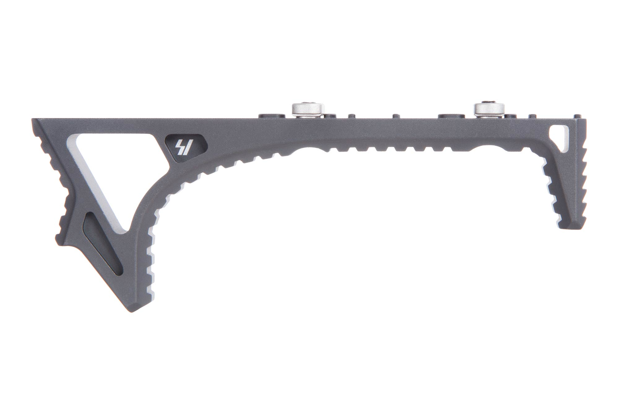 The Strike Industries LINK angled fore grip is compatible with M-LOK and KeyMod
