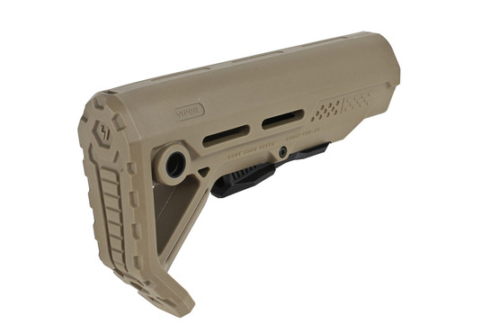 The Strike Industries Mod 1 carbine stock FDE features an angled buttpad