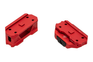 The Strike Industries T1 Red Dot Mount Riser features a red anodized finish