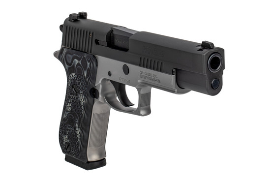 SIG Sauer P220 10mm pistol features a two tone black and stainless finish