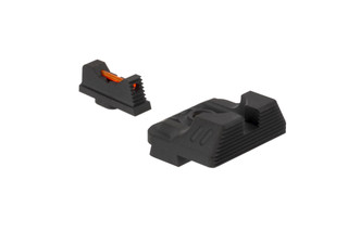 The Zev Technologies Glock sight set features a fiber optic front sight and a blacked out combat v3 rear sight
