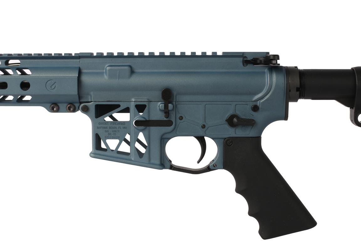 "Ghost Firearms 16 5.56 NATO 1:7 Skeletonized Carbine Length M4 Rifle - 14"" M-LOK Rail - Blue Titanium"