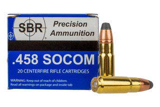 SBR Ammunition 458 SOCOM 400 grain jacketed soft point comes in a box of 20 rounds