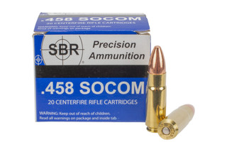 SBR Precision Ammunition subsonic .458 SOCOM 550-grain Full Metal Jacket Bullets equipped in 20-round boxes.