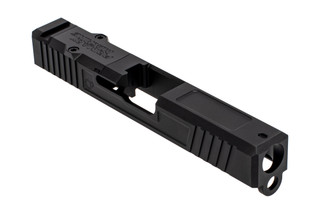 The Primary Machine Glock 19 Aftermarket slide with UCC v1 cuts features a nitride finish