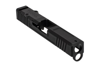 The Primary Machine Glock 19 stripped slide features the UCC V1 weight reducing cuts