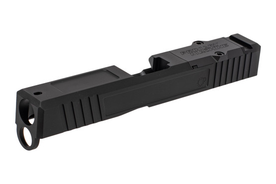 The Primary Machine Glock 19 aftermarket slide features a black Nitride finish