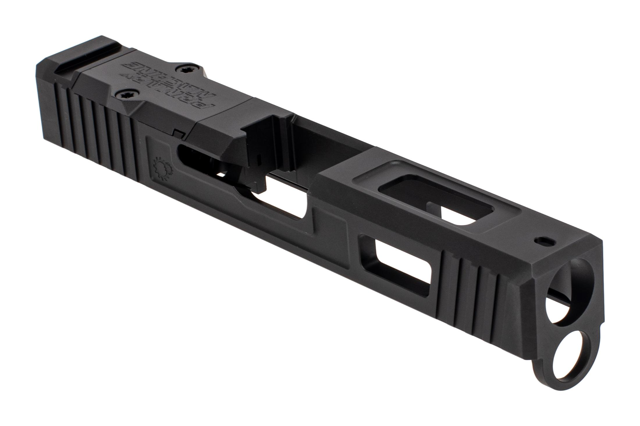 The Primary Machine Glock 19 slide features the UCC V3 weight reducing cuts
