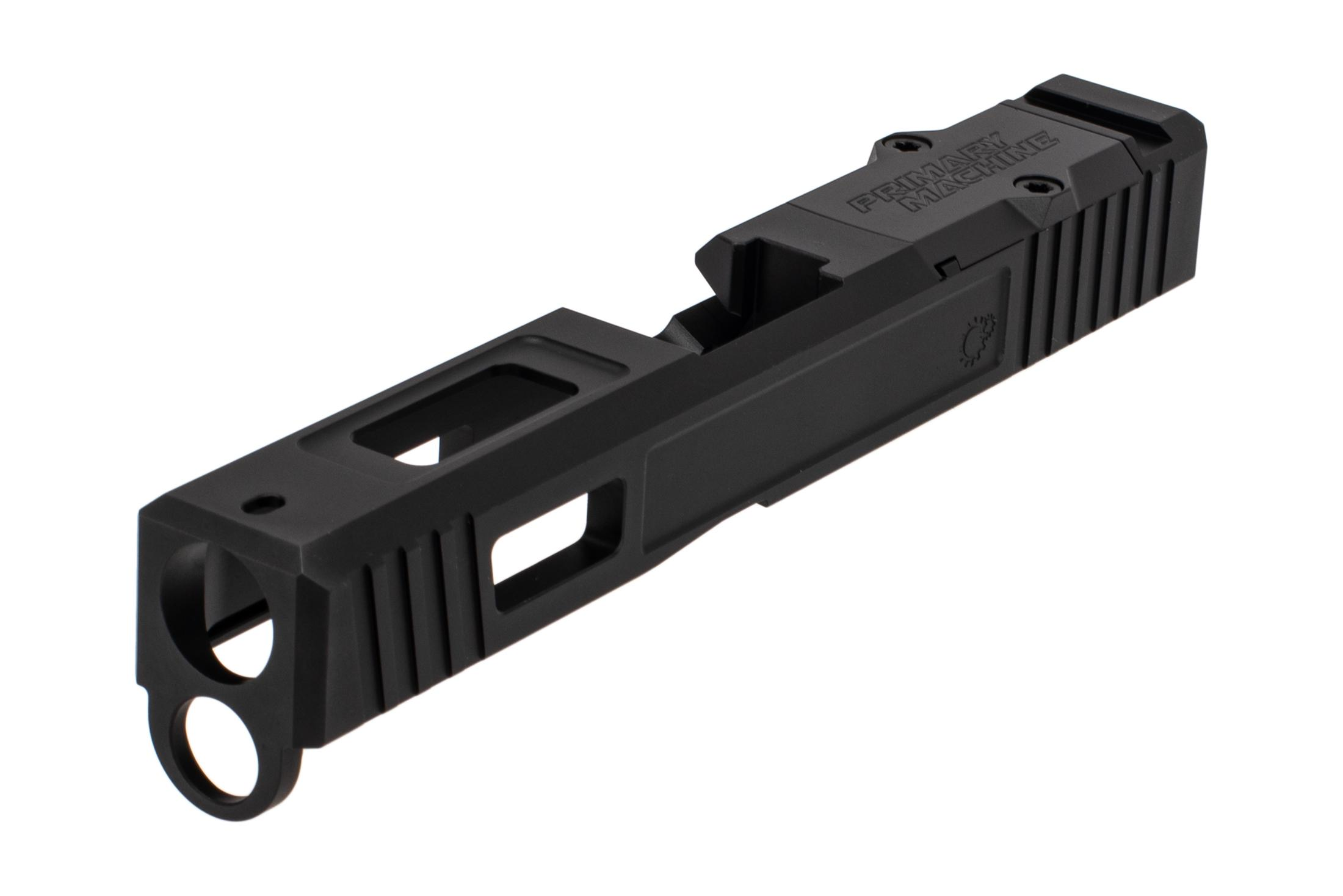 The Primary Machine Glock 19 stripped slide gen 4 features a black Nitride finish