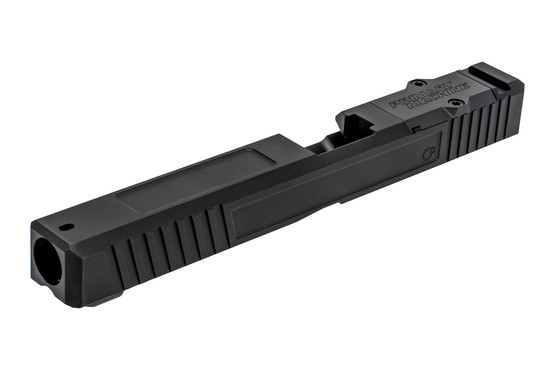 The Primary Machine Glock 34 slide features deep slide serrations