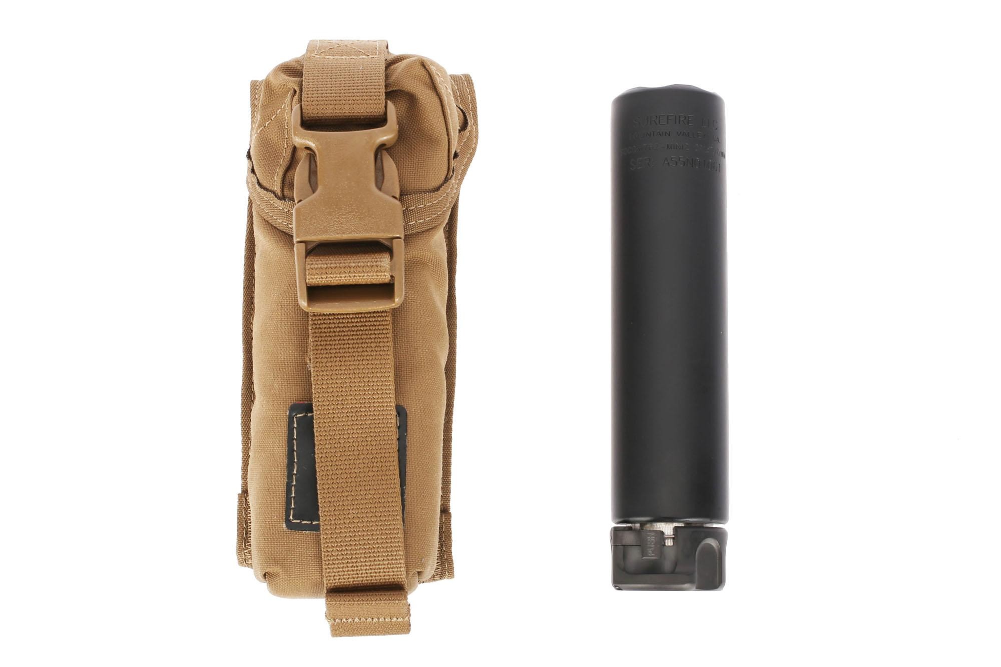 SureFire's Fast Attach black SOCOM 7.62 MINI2 Rifle suppressor includes a tan MOLLE carry case