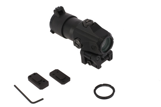 The Sig Sauer Juliet 4 red dot magnifier 4x comes with plates to adjust the height