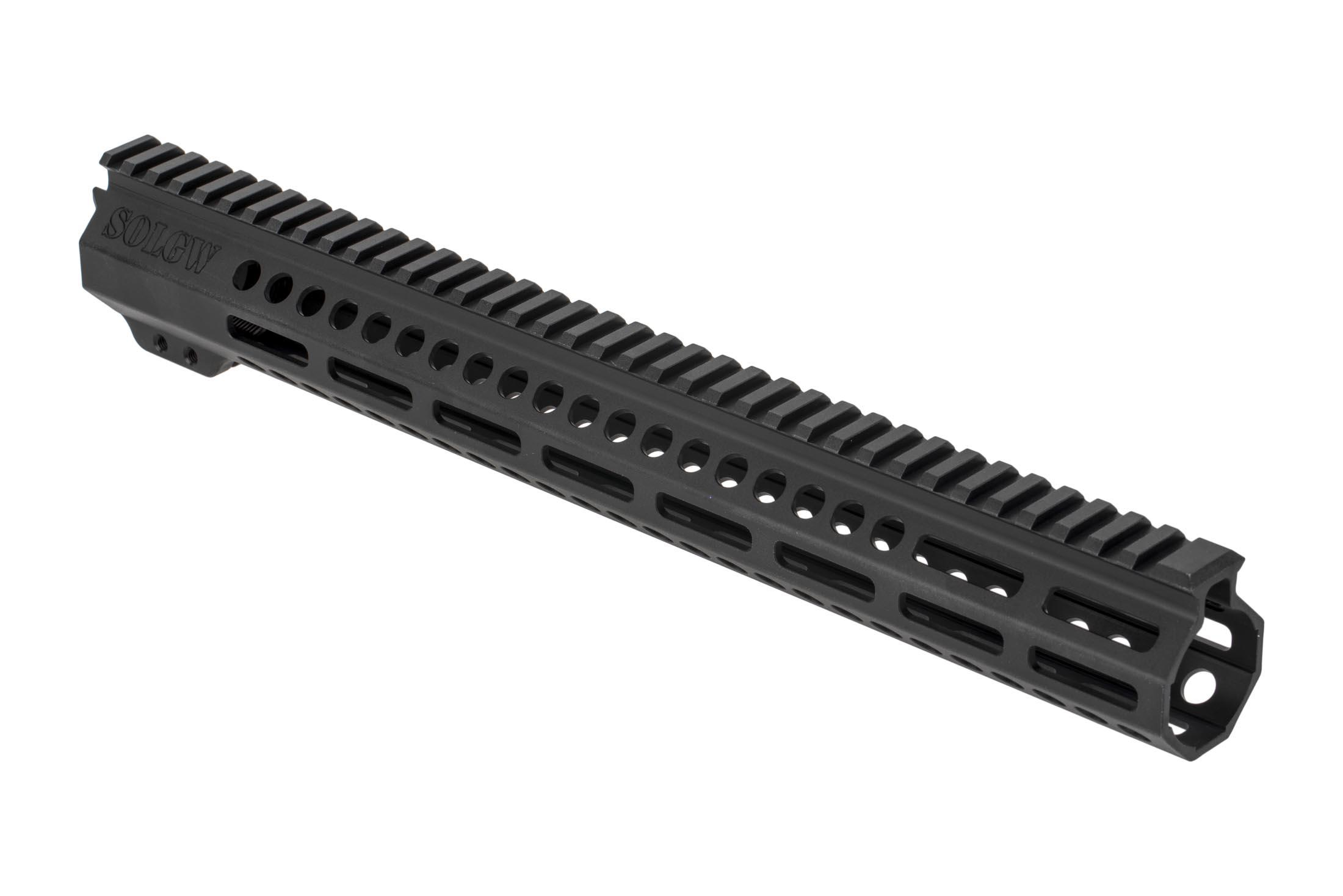 Sons of Liberty Gun Works Exo2 AR-15 handguard is 15in long, fully freefloated, and accepts M-LOK accessories