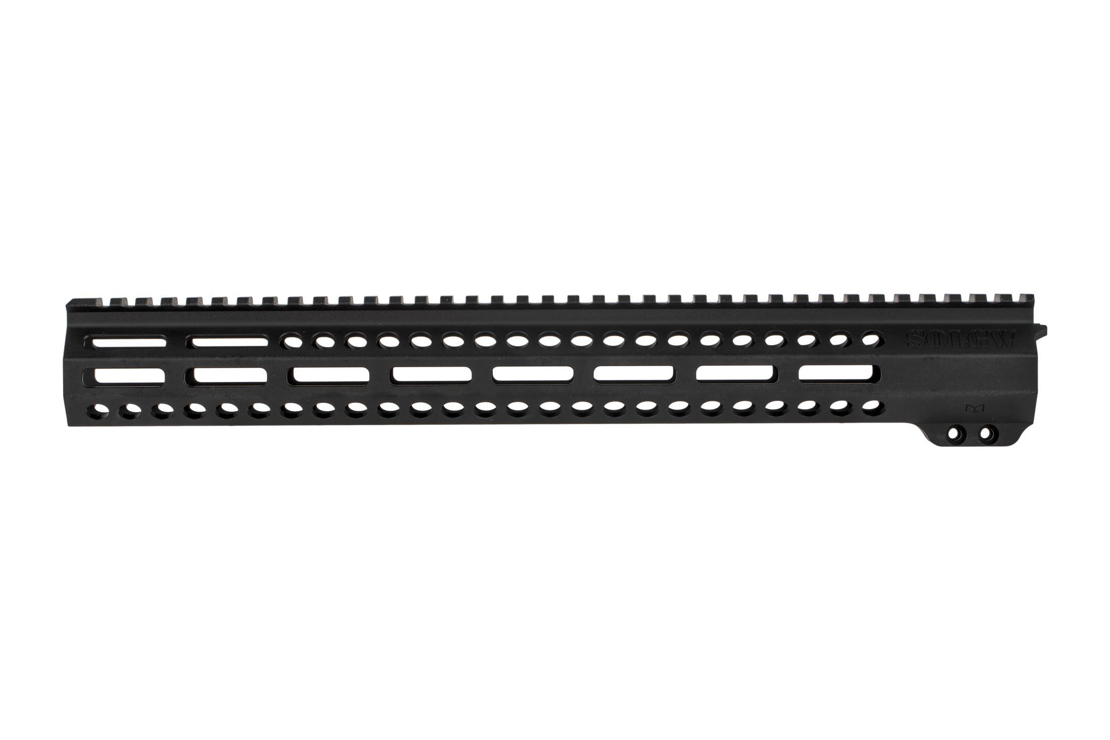 SOLGW EXO 2 15in free float AR15 handguard has two 45-degree M-LOK slots for lights and similar offset accessories