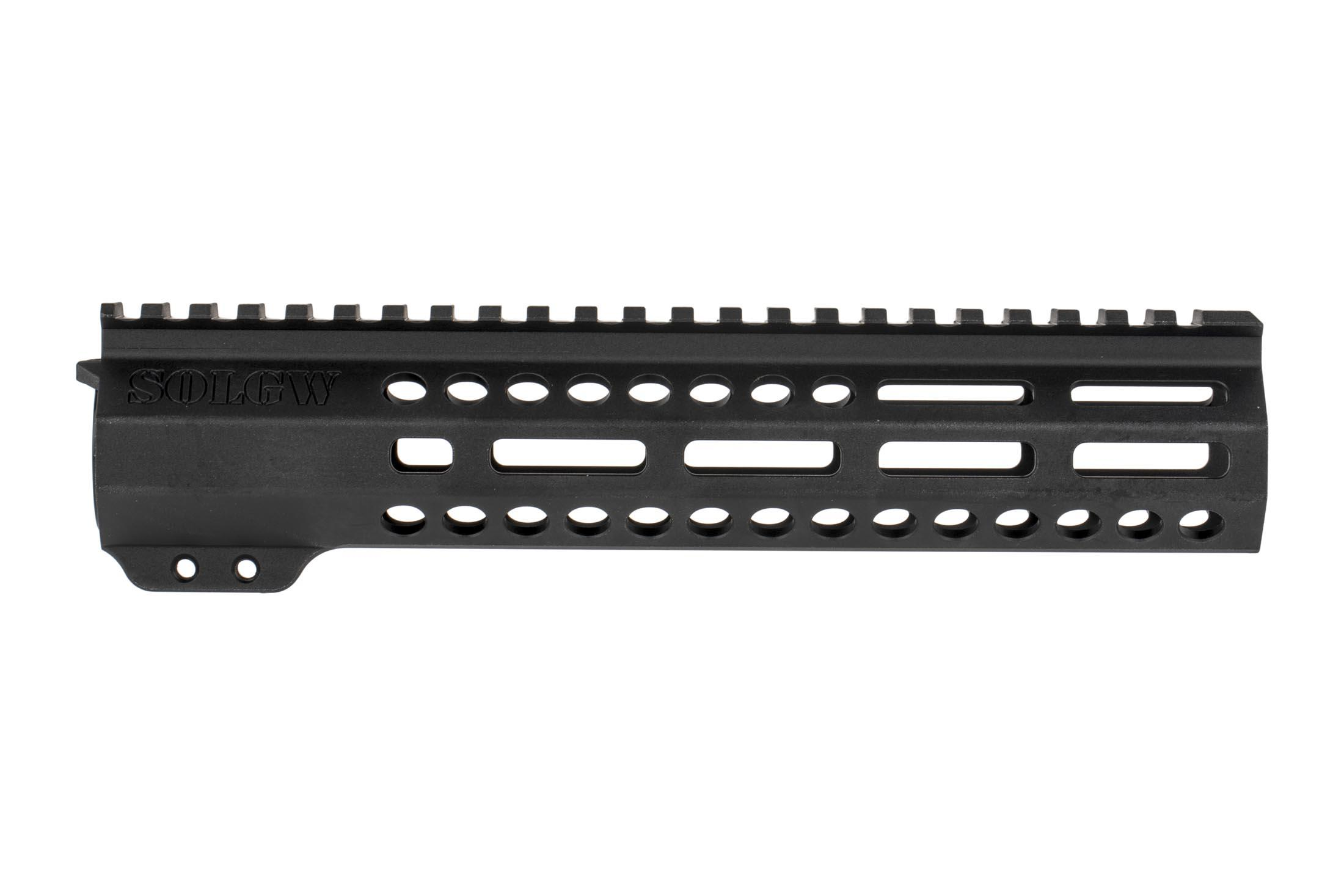 Sons of Liberty Gun Works 9.5in EXO2 AR-15 freefloat handguard Features M-LOK slots at the 3, 6, and 9 o'clock positions