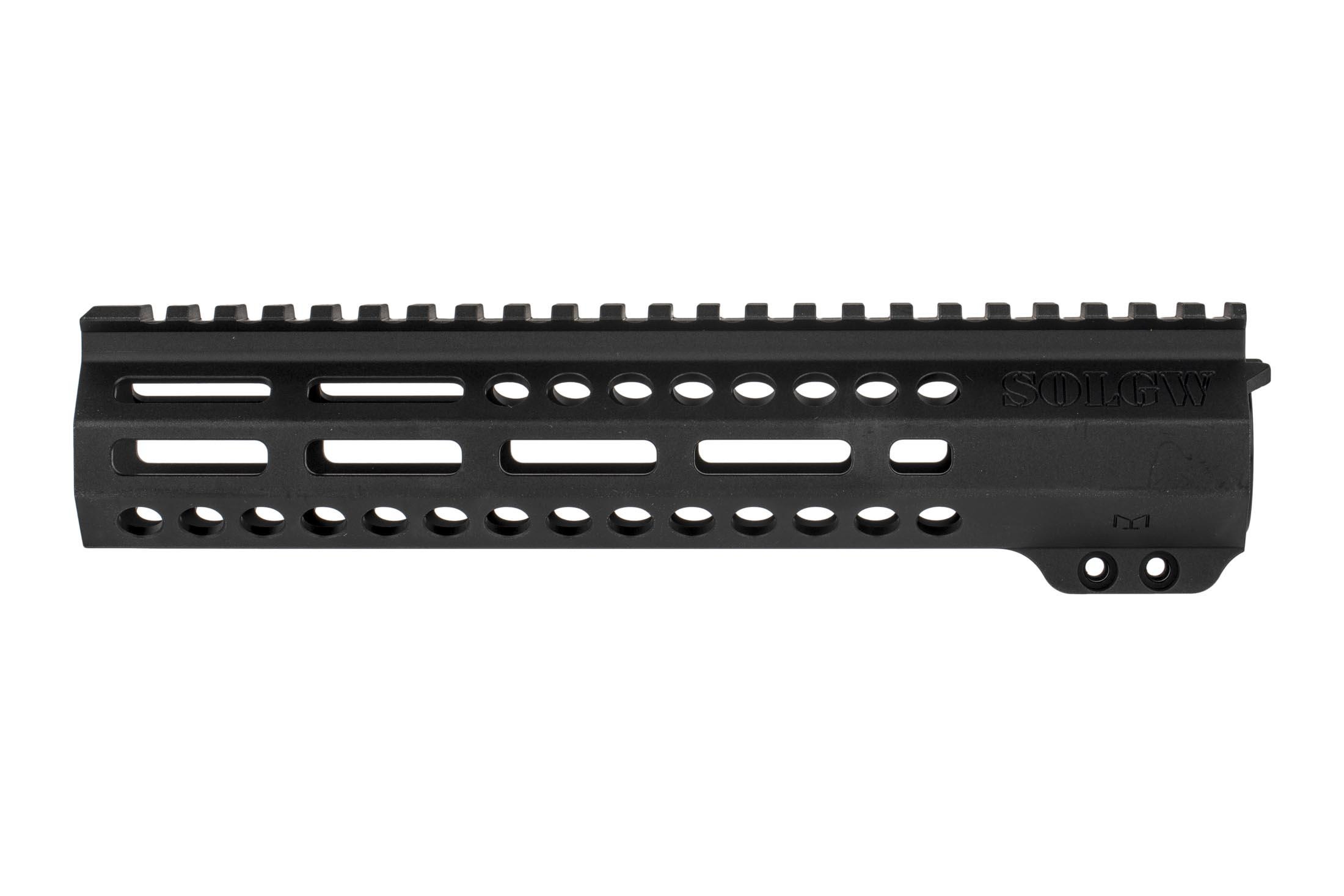 SOLGW EXO 2 9.5in free float AR15 handguard has two 45-degree M-LOK slots for lights and similar offset accessories