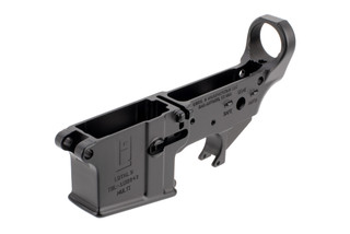 SoLGW stripped aR-15 lower receiver features the Loyal 9 logo on the left hand side of the magazine well