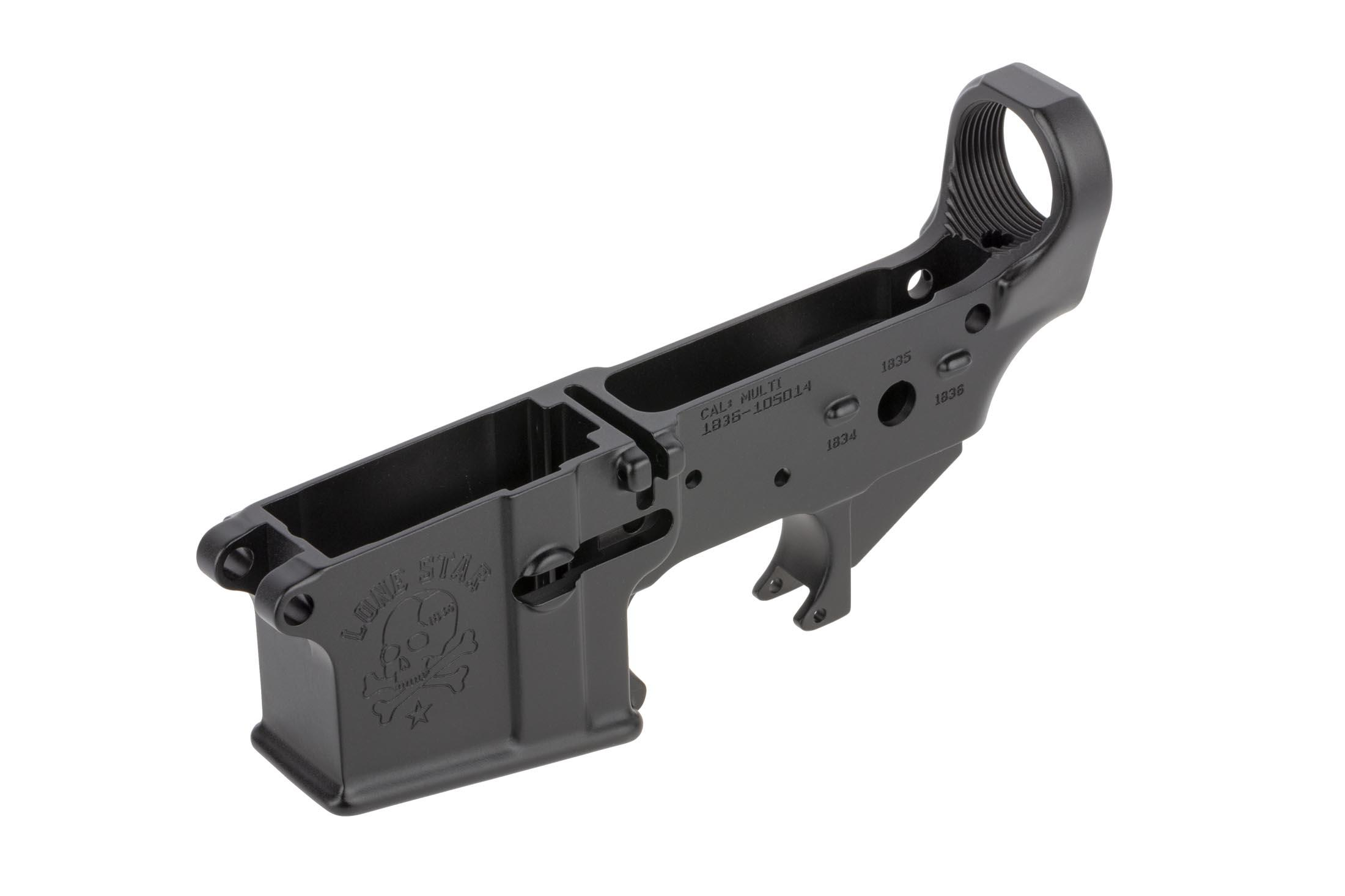 SoLGW stripped aR-15 lower receiver features the Lone Star logo on the left hand side of the magazine well