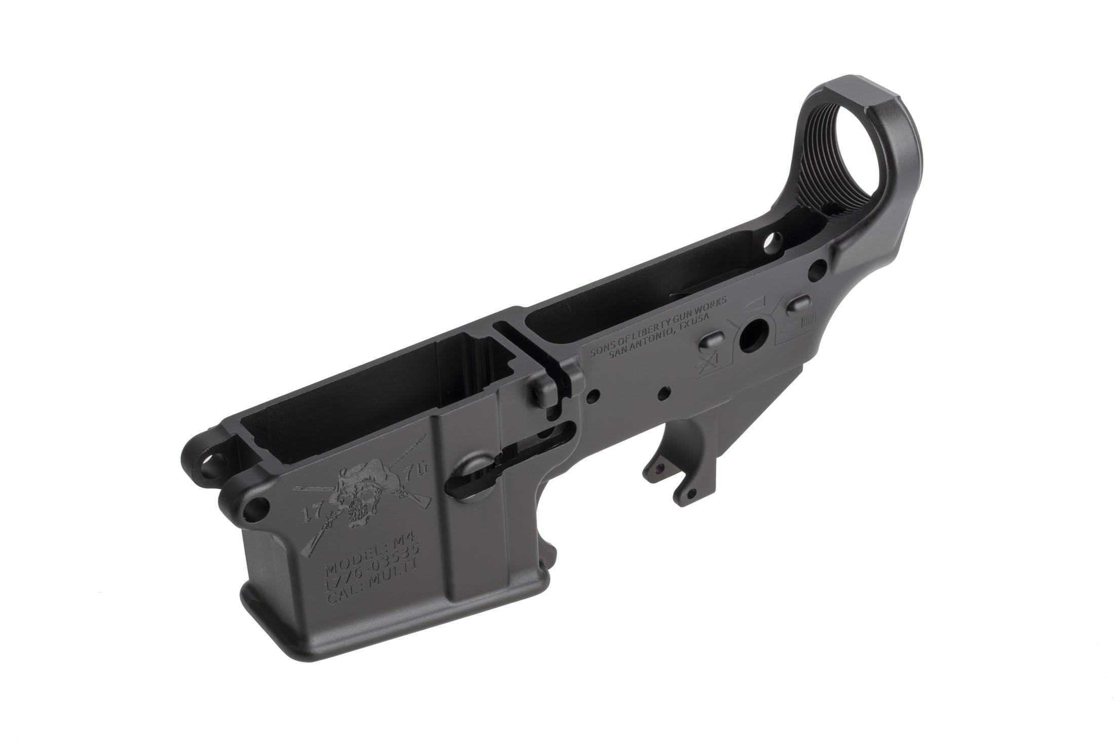 SoLGW stripped aR-15 lower receiver features the Angry Patriot logo on the left hand side of the magazine well