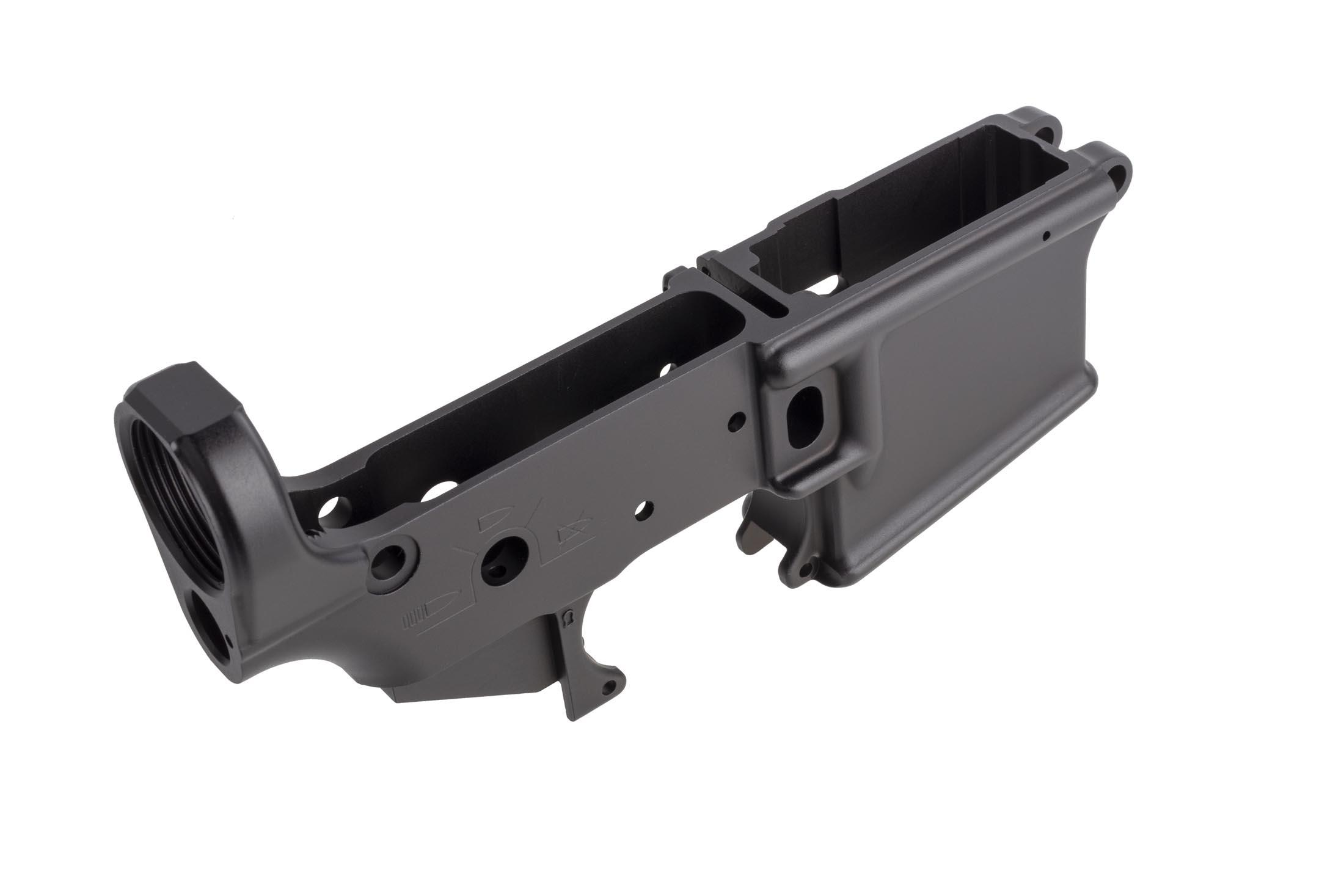 Sons of Liberty Gun Works stripped forged angry patriot AR15 lower receiver features SAFE, SEMI, and AUTO selector markings