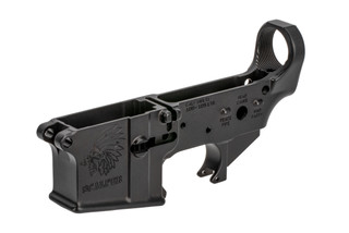 Sons of Liberty Gun Works AR-15 stripped lower receiver with Scalper engraving on the mag well
