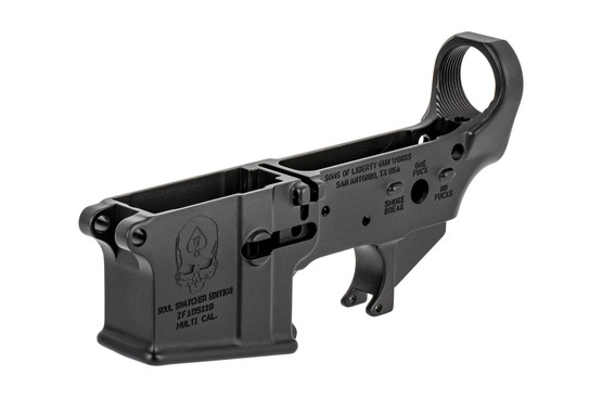 The Sons of Liberty Gun Works Soul Snatcher AR15 stripped lower receiver is made from 7075-T6 aluminum forgings