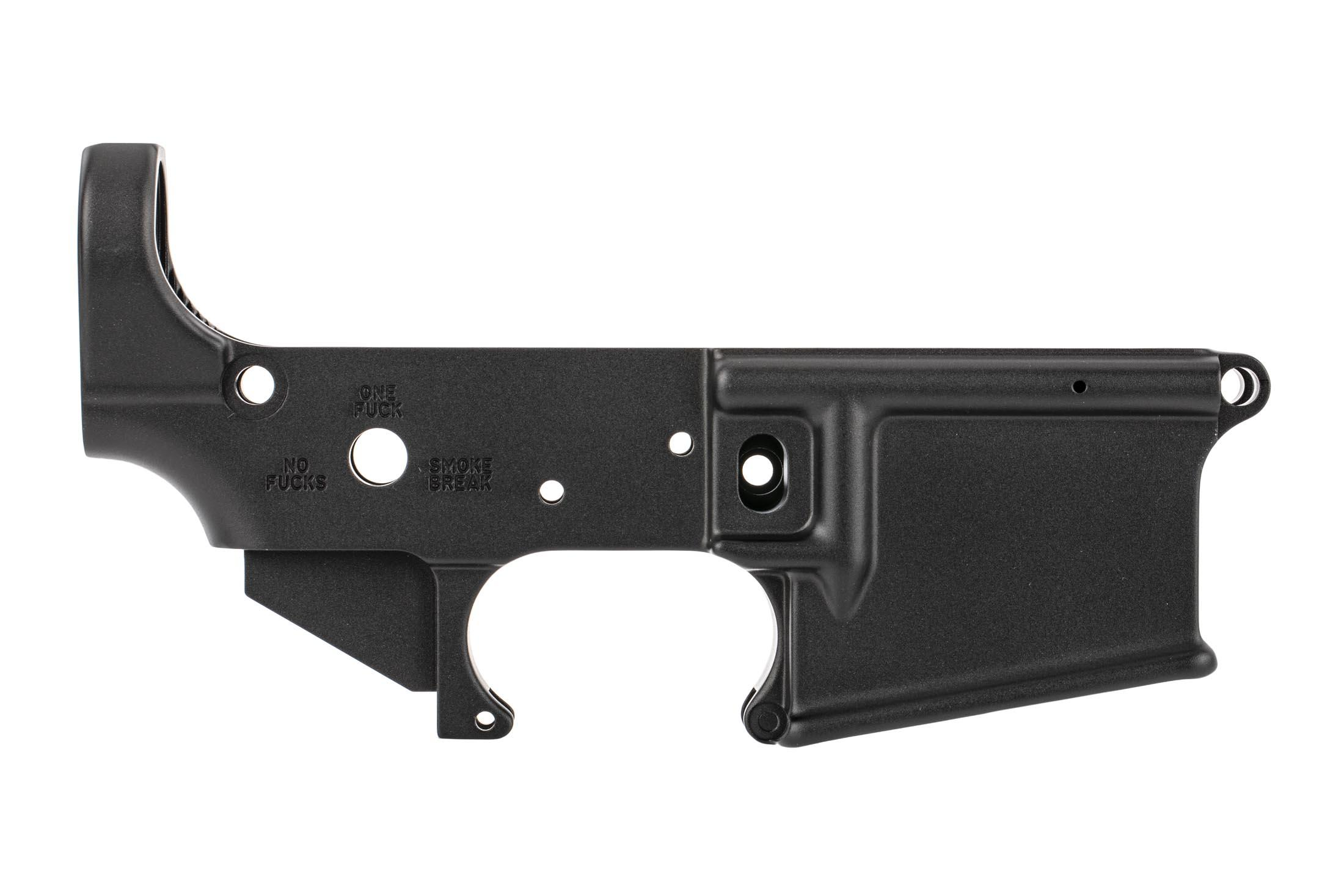 The SOLGW stripped AR15 lower receiver Soul Snatcher Edition features three selector markings