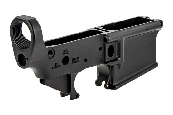 The Sons Of Liberty Gun Works Stripped AR-15 lower receiver features a harcoat anodized Mil-Spec finish