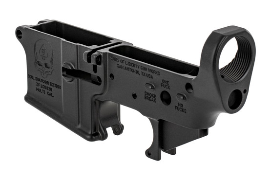 The Sons Of Liberty Gun Works AR-15 stripped lower receiver soul snatcher edition is marked multi-caliber