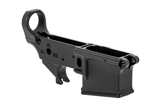 The Soul Snatcher Edition Sons of Liberty Gun Works AR-15 lower receiver has mil-spec trigger pin holes