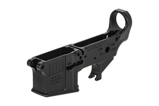 The Sons of Liberty Gun Works Rebellious Stripes AR15 stripped lower receiver is forged from 7075-T6 aluminum
