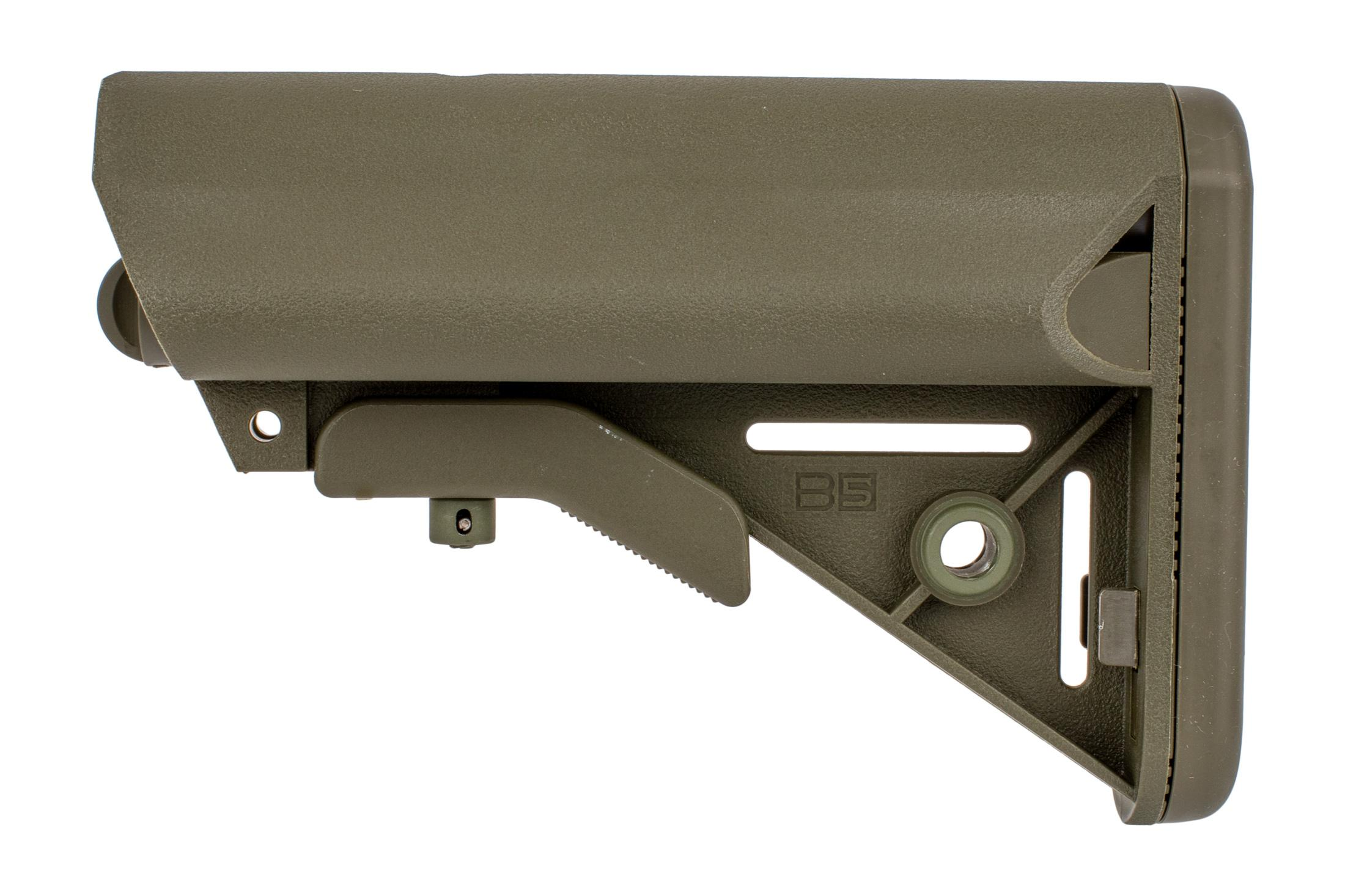 B5 Systems ENHANCED SOPMOD stock fits MIL-SPEC buffer tubes with a wide cheek weld and OD Green finish